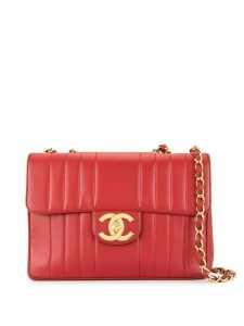Chanel Pre-Owned Jumbo XL Quilted CC Logos Chain Shoulder Bag - Red