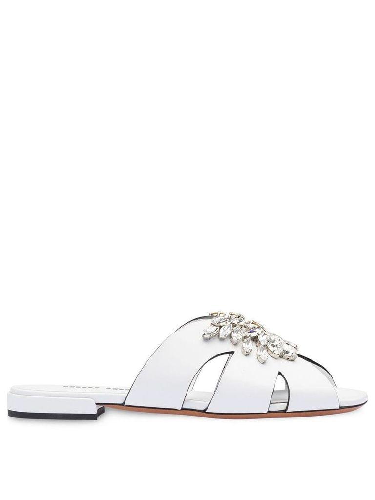 Miu Miu crystal embellished mules - White