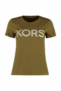 Michael Kors Studded Logo Cotton T-shirt