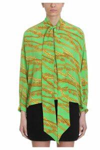 Balenciaga Bright Green Silk Chain Print Blouse