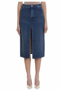 Balenciaga Twill Denim Midi Skirt
