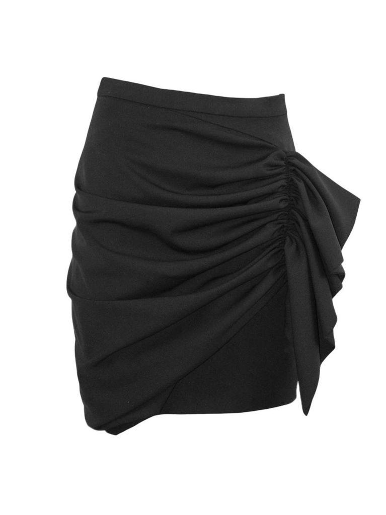 Alexandre Vauthier Black Wool Draped Skirt