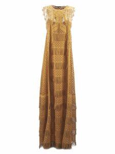 Alberta Ferretti Brown Macramè Dress
