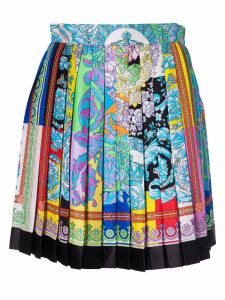Versace Pleated Printed Skirt