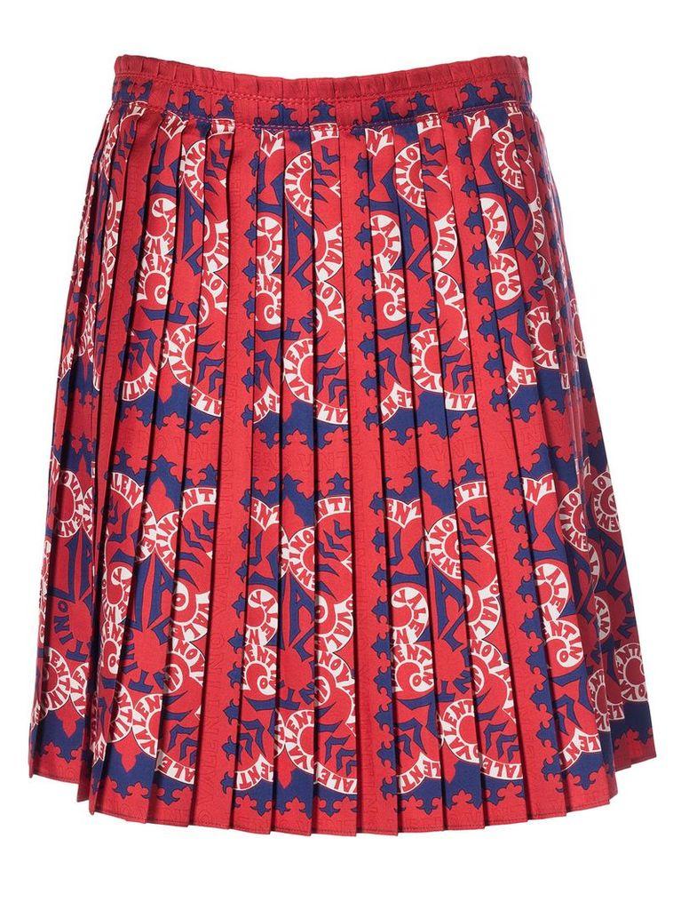 Valentino Logo Print Pleated Mid-length Skirt