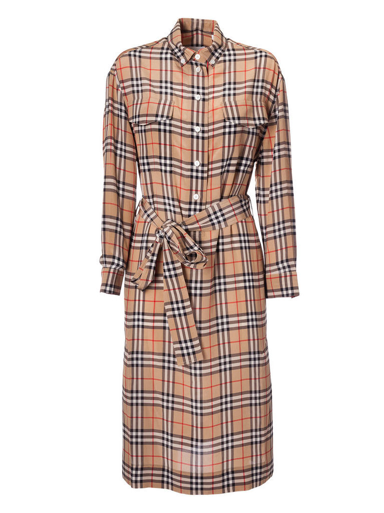 Burberry Checked Print Bow-tied Waist Dress