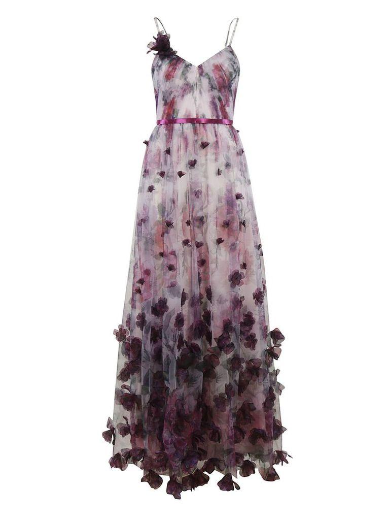 Marchesa Notte Floral Print Long Length Floral Detail Dress