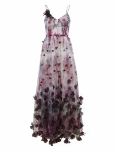 Marchesa Notte Floral Print Long Length Floral Detail Dress