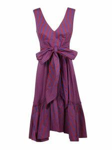 Parosh Striped Print Bow Detail Dress