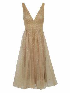 Marchesa Notte Glittery V-neck Dress