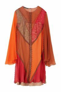 Alberta Ferretti Lace Details Chiffon Dress