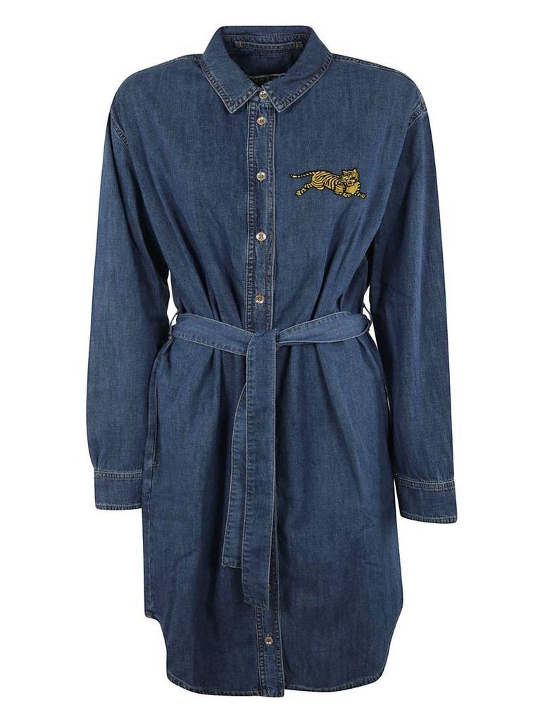 Kenzo Belted Waist Denim Shirt Dress