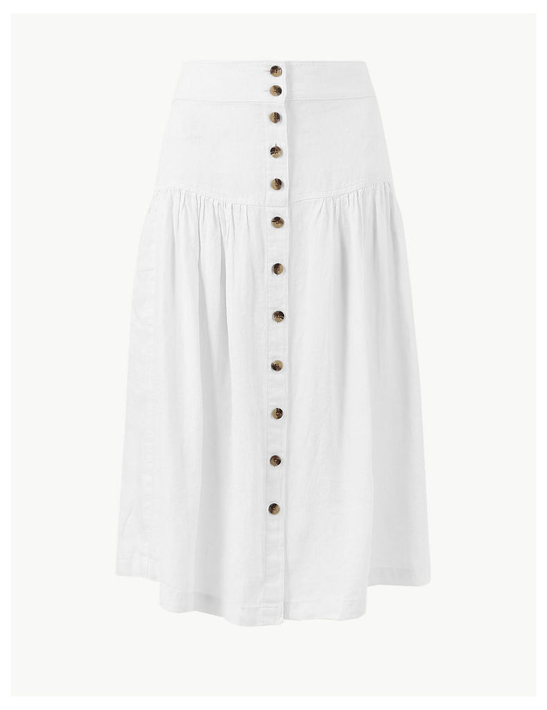M&S Collection Pure Linen Midi Fit & Flare Skirt