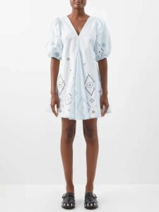 Zimmermann - Honour Floral Print Pintuck Cotton Skirt - Womens - Cream