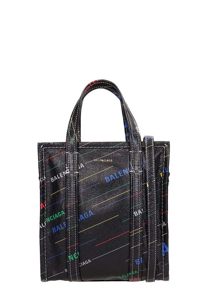 Balenciaga Multicolor All Over Logo Bazar Shopper Xs Bag