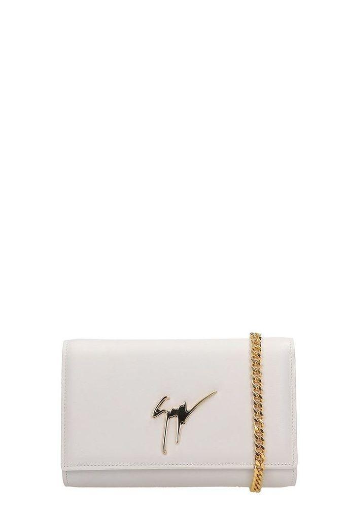 Giuseppe Zanotti White Leather Clutch