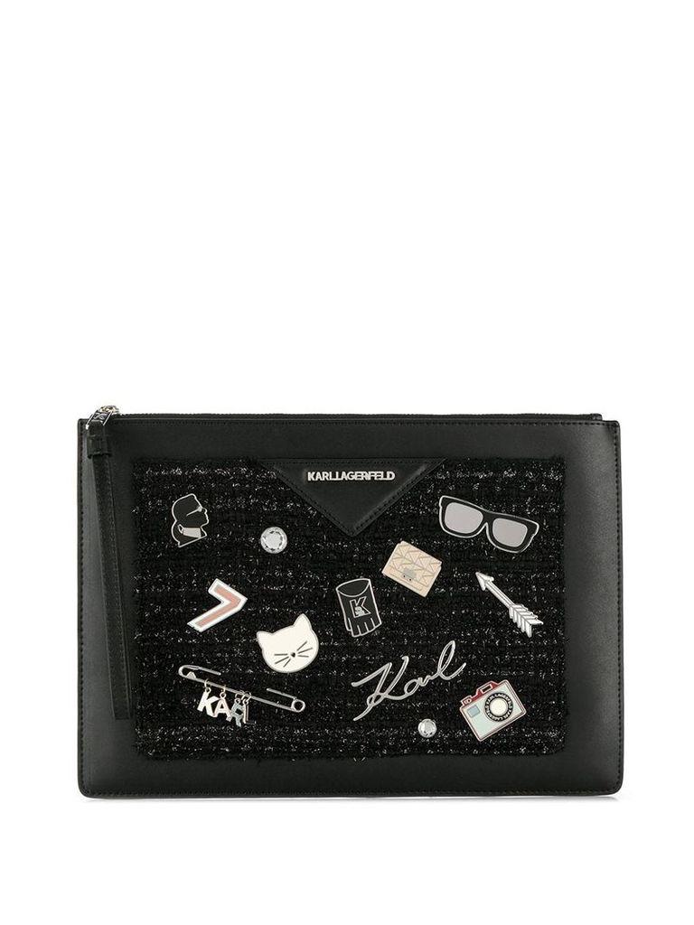 Karl Lagerfeld multi-pin clutch bag - Black