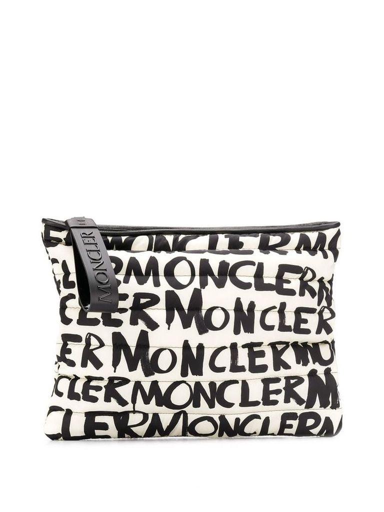 Moncler graffiti clutch bag - White