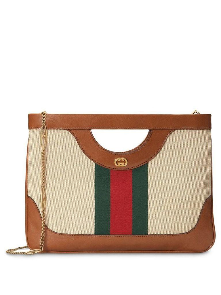 Gucci Large vintage canvas shoulder bag - Brown