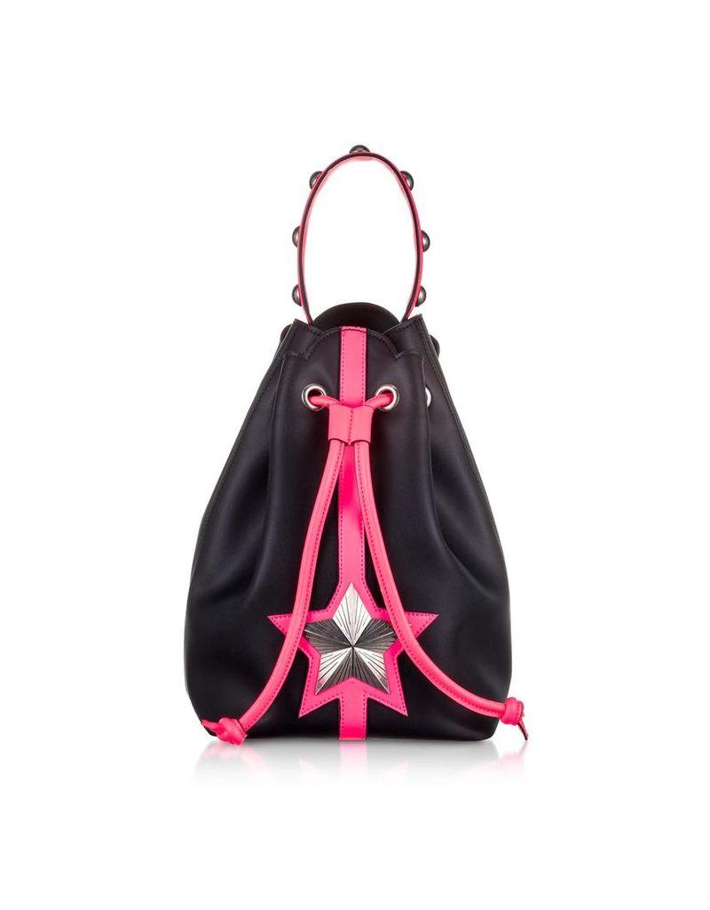 Les Jeunes Etoiles Black & Neon Pink Leather Vega Bucket Bag
