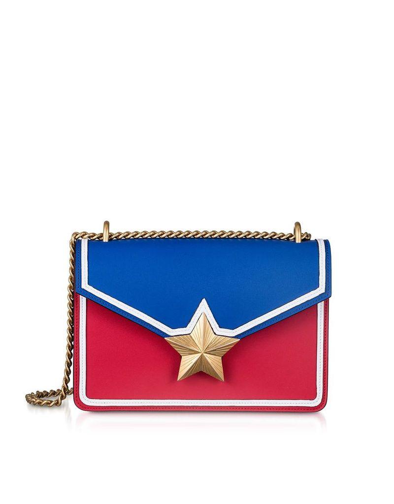 Les Jeunes Etoiles Blue & Red Leather New Vega Trim Shoulder Bag