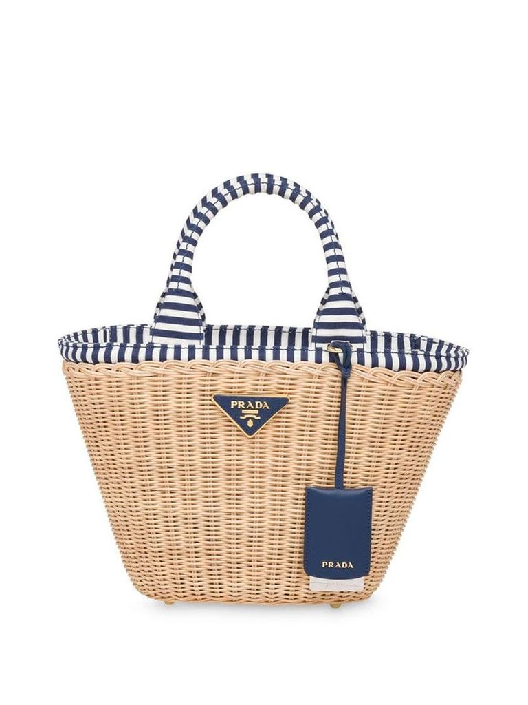Prada wicker and canvas handbag - Neutrals