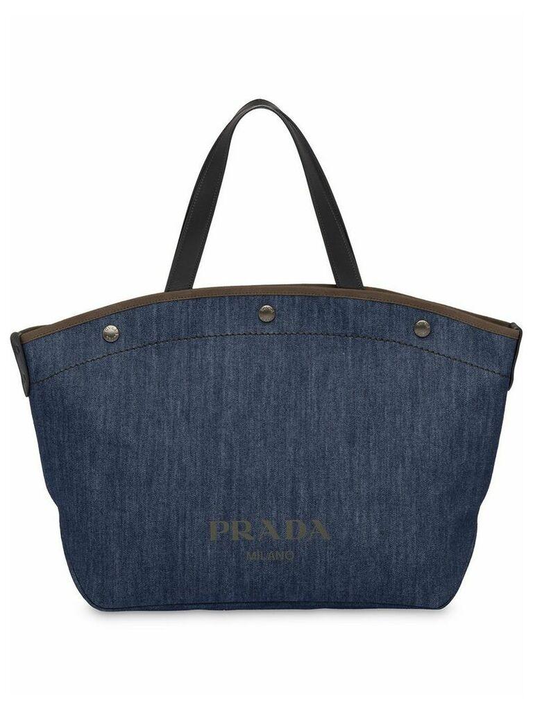 Prada large denim and leather tote bag - Blue