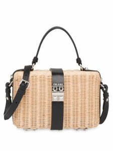 Prada wicker and leather shoulder bag - Neutrals