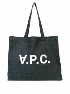 A.P.C. logo shopper tote - Blue