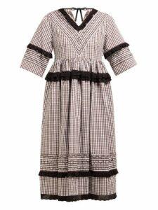 Molly Goddard - Frank Cross Stitched Gingham Cotton Midi Dress - Womens - Brown