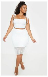 Plus White Polka Dot Mesh Frill Hem Midi Skirt, White