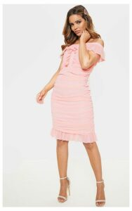 Petite Dusty Pink Bardot Ruched Dress, Pink