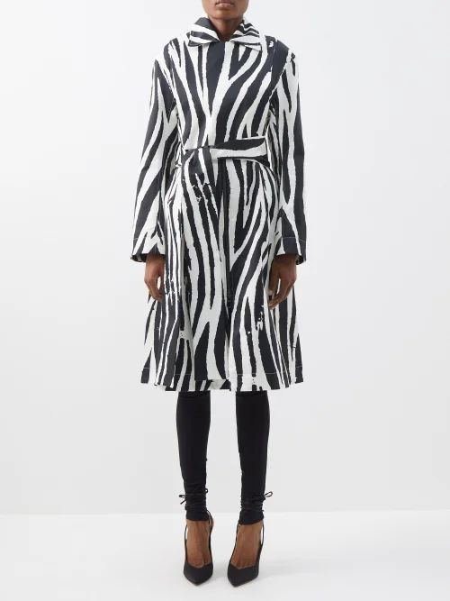 Craig Green - Floral Print V Neck Striped Jacquard Sweatshirt - Womens - Blue Multi