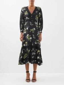 Staud - Mare Crochet Cotton Maxi Dress - Womens - Navy Multi