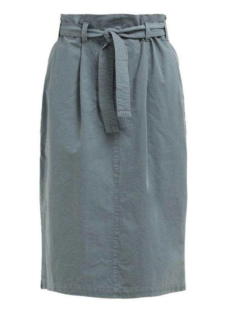Lemaire - High Rise Paperbag Waist Cotton Skirt - Womens - Blue