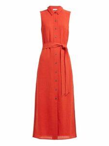 Cefinn - Tie Waist Piped Voile Dress - Womens - Red Multi