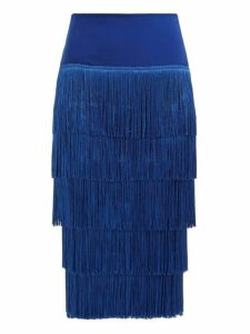 Norma Kamali - Tiered Fringe Stretch Jersey Pencil Skirt - Womens - Blue