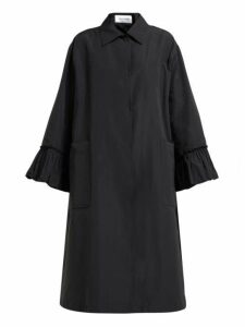 Valentino - Flared Sleeve Cotton Blend Faille Coat - Womens - Black