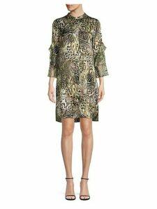 Sawyer Safari Animal Print Silk Mini Dress