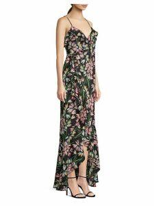 Floral Wrap-Front Maxi Dress