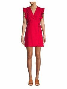 Ruffle Linen & Cotton Blend Mini Wrap Dress