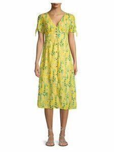 Floral Button-Front Midi Dress