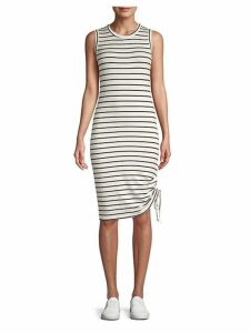 What's The Ruche Striped Tank Dress