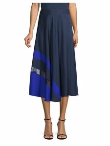 Asymmetric Stripe A-Line Midi Skirt