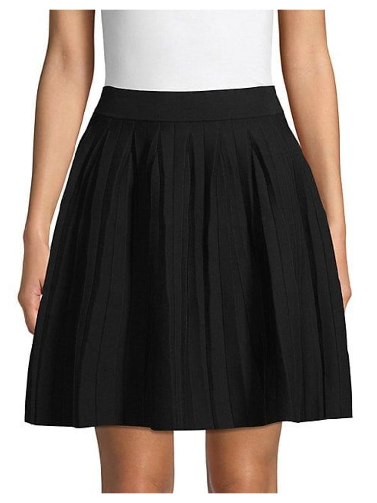 Pleated Cotton Blend A-Line Skirt