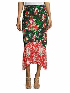 Leandra Floral Silk Midi Skirt