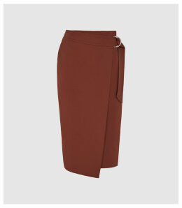 Reiss Larkby - Wrap Front Midi Skirt in Rust, Womens, Size 14