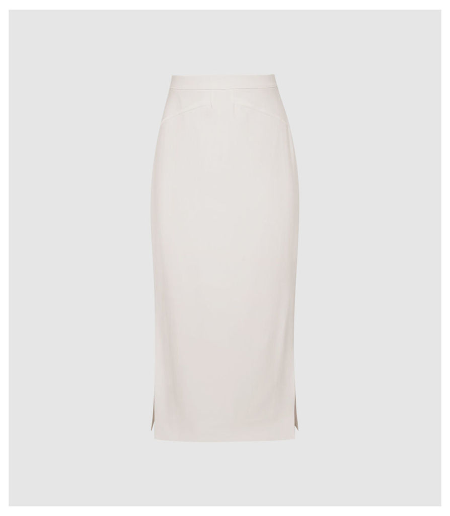 Reiss Roxanne - Side Split Pencil Skirt in Ivory, Womens, Size 14