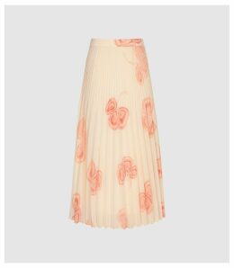 Reiss Aya - Peaches And Cream Pleated Midi Skirt in Multi, Womens, Size 14
