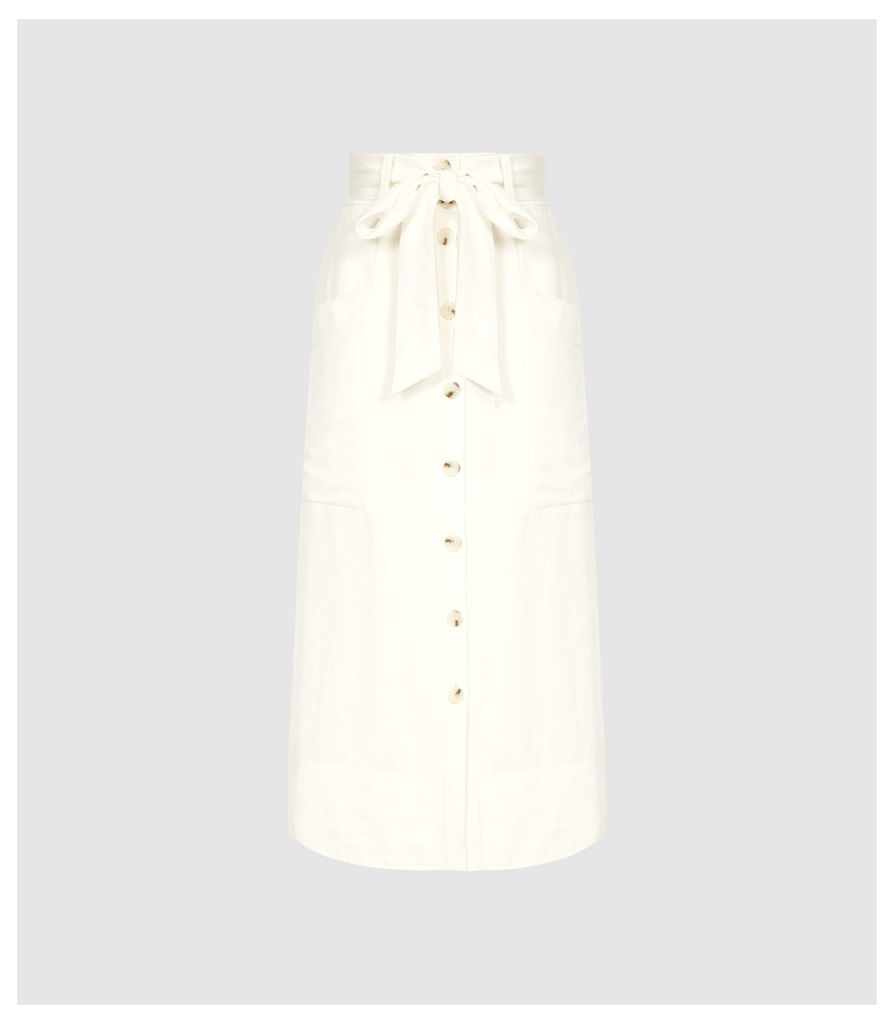 Reiss Josephine - High Rise Linen Blend Midi Skirt in Buttermilk, Womens, Size 14